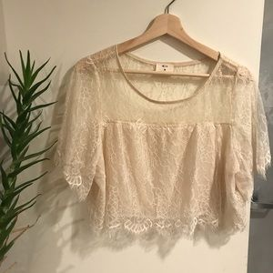 Urban Outfitters - Cream Lace Crop Top